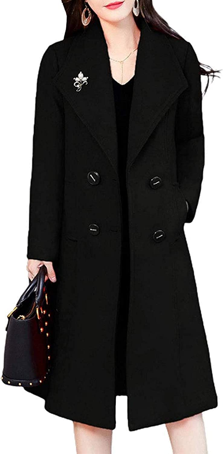 Women's Double Breasted Wide Lapel Winter Quilted Lined Wool Blend Coat