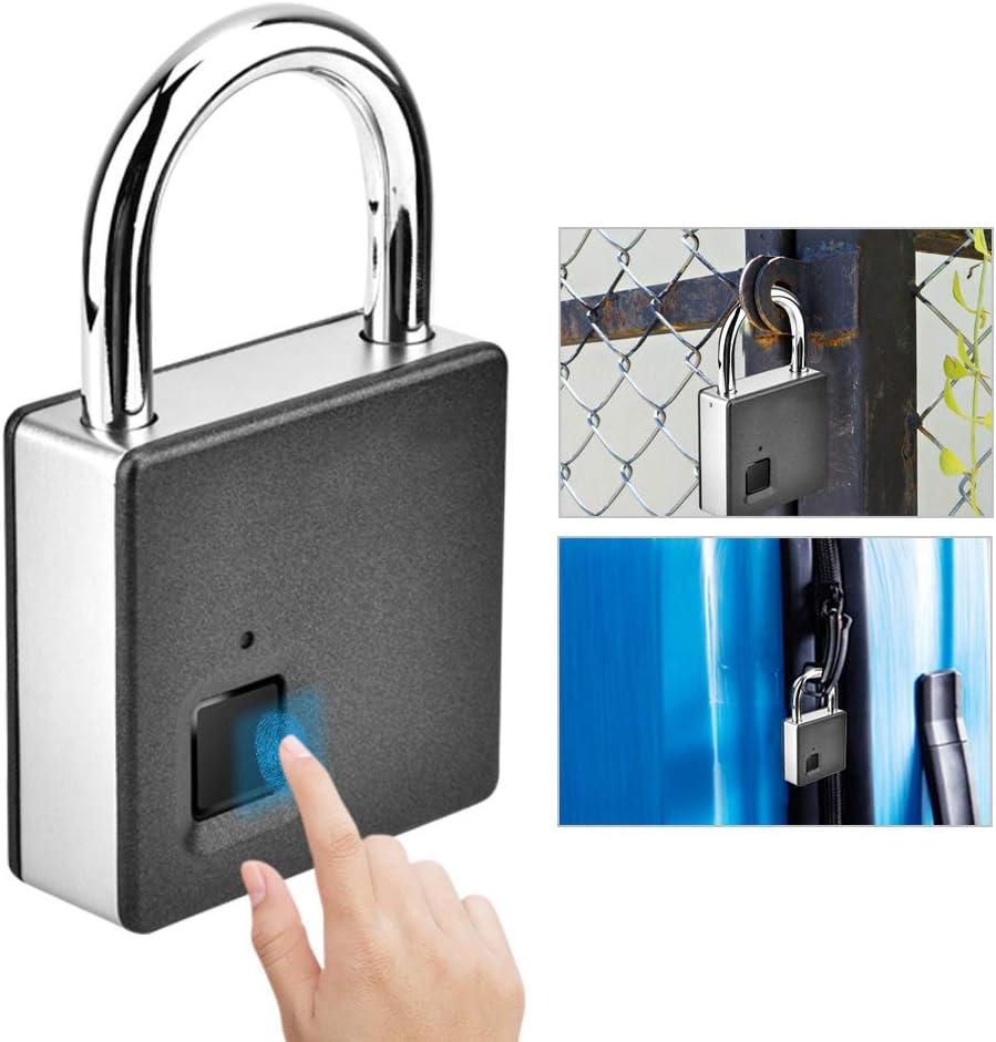 Cadenas Intelligent dempreintes digitales en Acier Inoxydable biom/étrique Portable Cadenas ext/érieur Porte /électrique Boquite Empreinte Digitale Argent