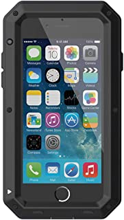 iPhone 8 Case,iPhone 7 Case,Built-in Glass Luxury Aluminum Alloy Protective Metal Extreme Shockproof Military Bumper Heavy Duty Cover Shell Case Skin Protector for Apple iPhone 8 & iPhone 7 (Black)