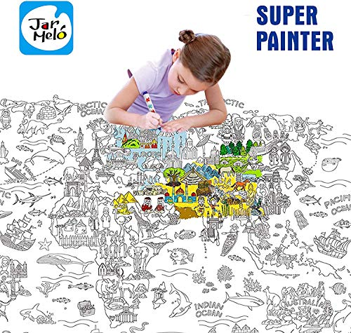 Jar Melo Super Painter;Giant Coloring Poster; The World; Doodle Art for Children; 45.3' x 31.5'; Coloring for Kids; Coloring for Adult; Theme Scene; Enjoy Drawing Fun