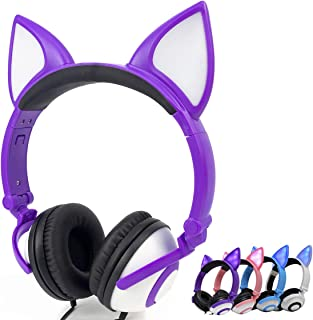 Olyre Wired Stereo Headphones, Over-Head LED Glowing Cat Headphones Noise Isolating for Girls Teens Adults iPad Cell Phones PC Tablet Computer (Purple)