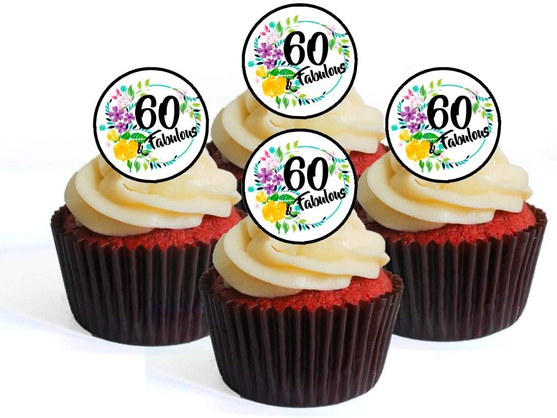 24 X  BIRTHDAY AGE 60 BLACK  GOLD EDIBLE CUPCAKE TOPPERS  RICE PAPER CC0522