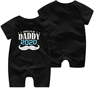 AIKSSOO Infant Baby Boy Girl Fathers Day Outfit Letter Printed Cotton Footies