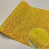 Tessuto in vinile glitterato, ologramma arcobaleno, decorazione per capelli, decorazione fai da te, con paillettes, realizzato a mano, in materiale artigianale, oro (20 cm x 30 cm)