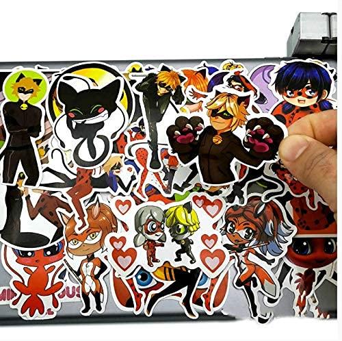 XXCKA Cute Anime Ladybug Girl Cat Noir Pegatinas Juguetes para niños Scrapbook papelería teléfono móvil portátil Pad Dibujos Animados Pegatina 50 Uds