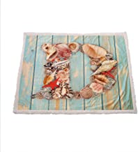 Miles Ralph Letter D Cozy Blanket Nautical Themed Alphabet with Seashells Animal Wooden Background Fleece Throw Blanket 50