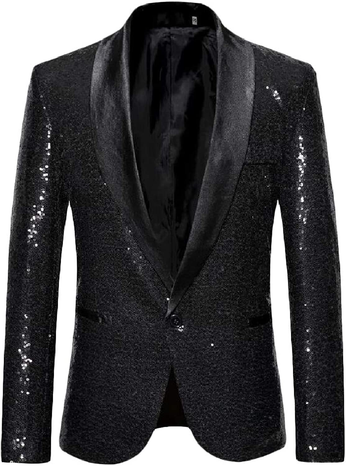 - Hajotrawa Mens Outdoor Dance One Button Slim Fit Fit Fit Sequins Blazer Jackets 797868