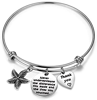 AKTAP Thank You Gift Starfish Bracelet Never Underestimate The Different You Made and The Lives You Touched Appreciation Gift for Social Worker Volunteer Nurse Teacher Employee