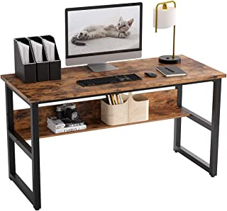 Vordern Computer Desk with Bookshelf Works as Office Desk Study Table Workstation for Home Office (American Retro)