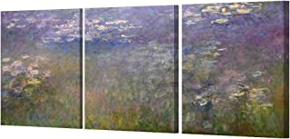 DECORARTS - Water Lilies 1914 in Giverny (Triptych) by Monet Oil Painting Reproduction Giclee Print on 100% Cotton Canvas Wall Art for Home Decor and Wall Decor 3pcs/Set x 16x20