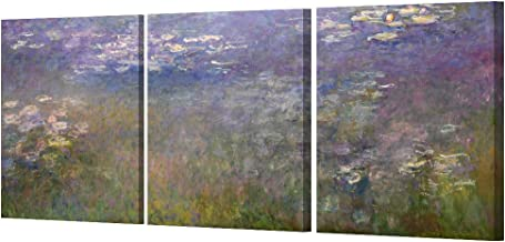 DECORARTS – Water Lilies 1914 in Giverny (Triptych) by Monet Oil Painting..