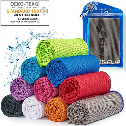 Cooling Towel für Sport & Fitness – Mikrofaser Handtuch/Kühltuch als kühlendes Handtuch für Laufen, Trekking, Reise & Yoga – Cooling Towel – Farbe: grau-Blauer Rand, Größe: 100x30cm
