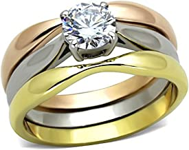 1000 Jewels Chelsea: 0.75ct Russian Ice on Fire CZ 3pc 3-Tone Wedding Ring Set 316 Steel, 3188A