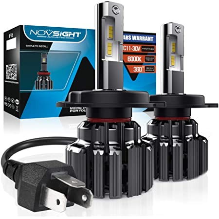High Beam//Low Beam NOVSIGHT H4//9003 LED Headlight Bulbs,12000 Lumens 60W Super Bright LED Headlights Conversion Kits 6000K Cool White 1:1 Size Design Pack of 2