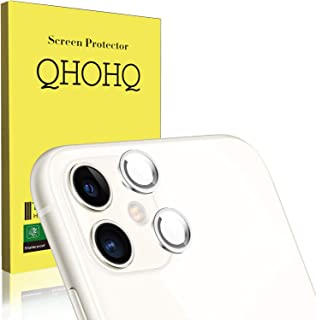 QHOHQ [2 Unidades Protector de Lente de cámara para iPhone 11 (6.1) Vidrio Templado[Dureza 9H] Cristal Templado [Sin Burbujas] HD Protector de Pantalla (Silver)