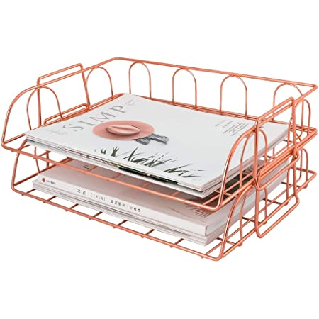 Gold Shunmi 2 Piece Office Supplies File Stackable Horizontal Metal Document Letter Tray Organizer