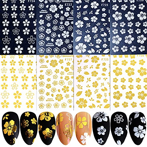 FLOFIA 8 Hojas Pegatinas Uñas Decorativas Flores Oro Blanco, Calcomanías Uñas Adhesivas, Nail Arte Stickers, Etiquetas Engomadas Uñas para DIY Manicura, Tatuaje de Uñas Flores Doradas