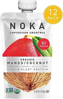 NOKA Superfood Pouches (Mango Coconut) 12 Pack | 100% Organic Fruit And Veggie Smoothie Squeeze Packs | Non GMO, Gluten Free, Vegan, 5g Plant Protein | 4.2oz Each