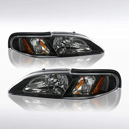Autozensation For Ford Mustang Clear Bumper Lights Park Turn Signal Lamp