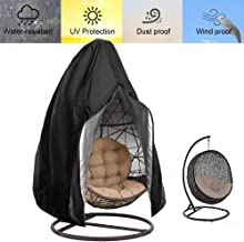 FLYMEI 【Upgraded】 Patio Hanging Chair Covers with Zipper, Large Wicker Egg Swing Chair Covers, Waterproof Heavy Duty Weather Resisatnt Outdoor Chair Cover, Windproof