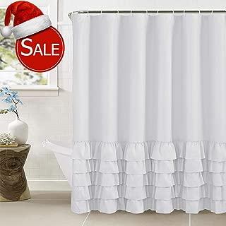 WestWeir Ruffle Shower Curtain - Grey for Bathroom 72 x 72 Light Gray