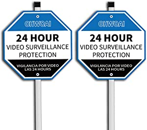 OHWOAI Security Yard Sign(2 Pack), Video Surveillance Sign, No Trespassing Warning Sign, Rust-Free Sign with Stake,UV Protected/Waterproof, Security Alert Sign for Outdoor