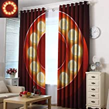 Acelik Indoor/Outdoor Curtains Letter O Entertainment World in Vegas Theme Vintage Casino Nightclub Theater Typeset Darkening Thermal Insulated Blackout 72