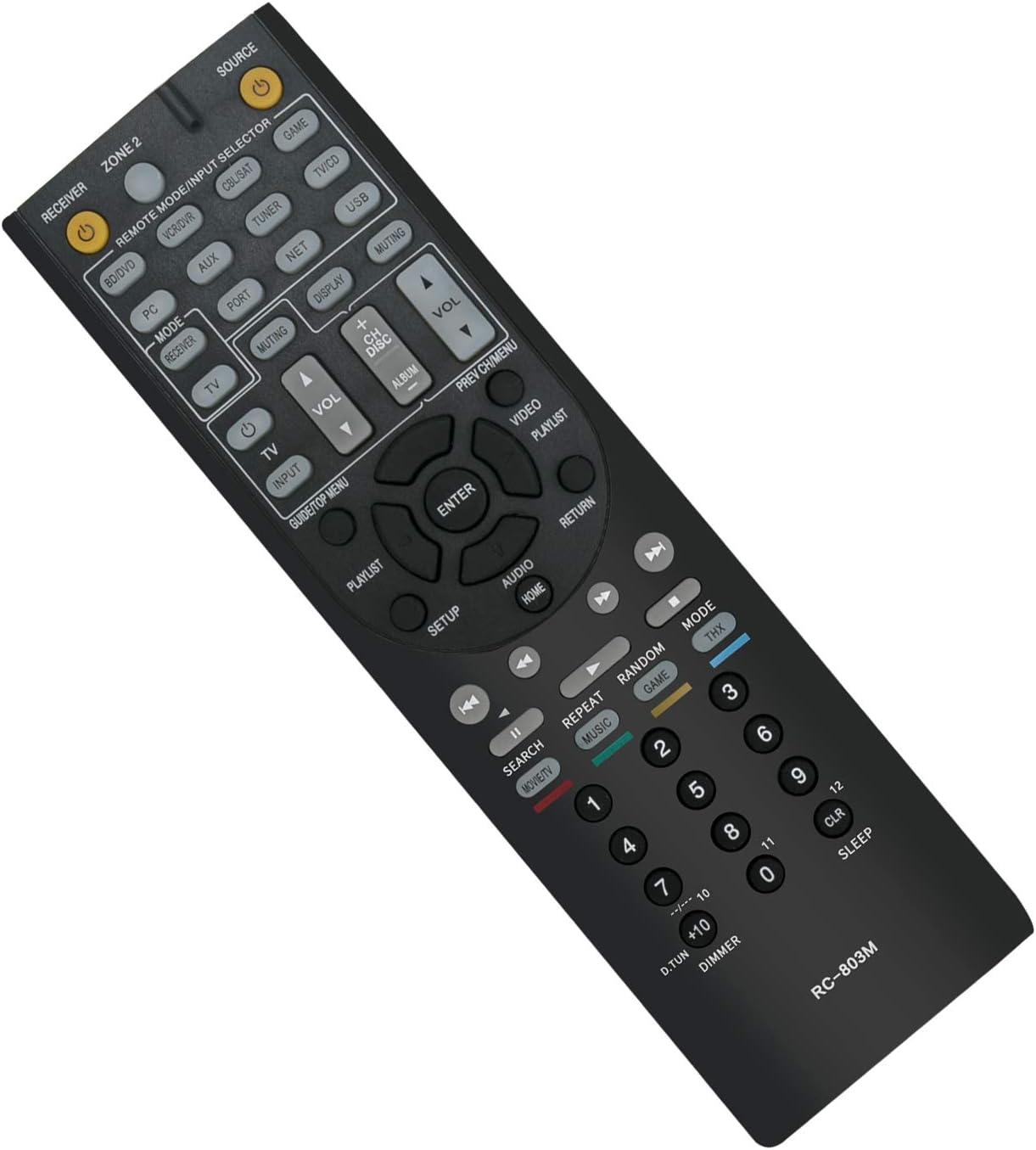 VINABTY RC-803M Mando a distancia de repuesto por ONKYO AV Receiver HT-S7409 HT-S8409 TX-NR609 24140801 TX-NR609B HT-R690 HT-R990 HT-S7400 HT-S8400 HT-S9400 HT-S9400THX HT-RC360 M5000R TX-NR509 Remote