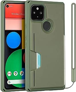 جراب محفظة لهاتف Google Pixel 5 من Cavor - حامل بطاقات الائتمان [حماية من السقوط] مع شريط معصم - أخضر