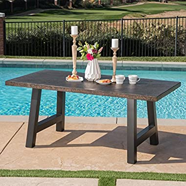 Great Deal Furniture Doris Outdoor Brown Stone Finish Light Weight Concrete Dining Table