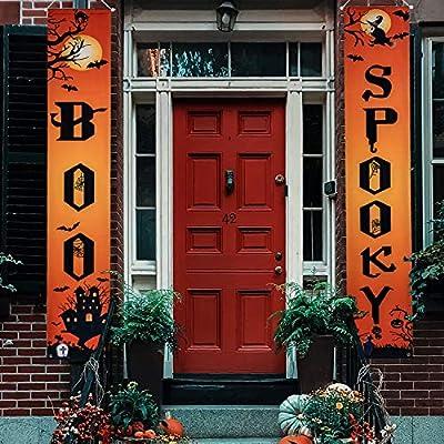 Huishang Halloween Decorations Porch Sign Boo & Spooky Halloween Signs Banner for Front Door Wall Indoor Outdoor Home Office Decoration Halloween Welcome Signs(Orange,Boo Spooky)