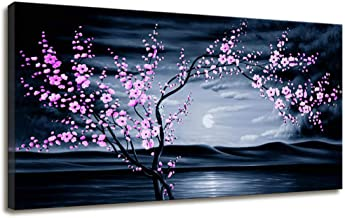 Canvas Wall Art for Living Room Bedroom Decor Cherry Blossom Wall Art Sunset Ocean Beach Painting Purple Wall Decor Canvas...