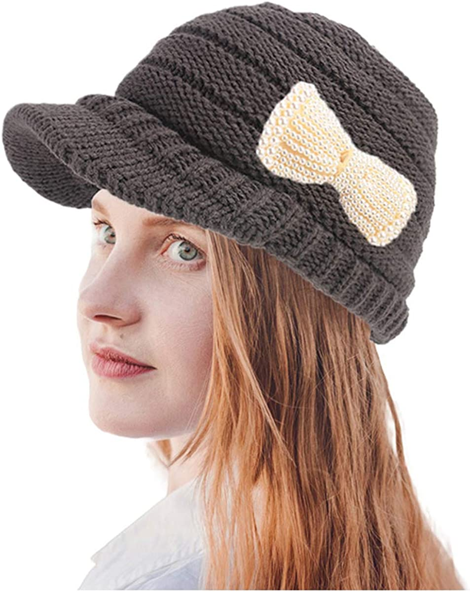 RARITYUS Women Knitted Hat Warm Winter Wide Slouchy Beret Visor Brim?Cap with Cute Pearls Bow for Girls