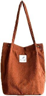 Damen Handtasche Groß Cord Tasche Canvas Tasche Lässige Tote Handtasche, Fashion Stofftasche Einkaufstasche für Uni Alltag...
