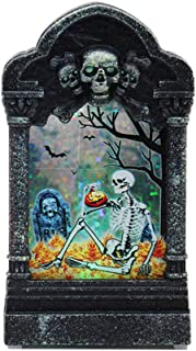 MEANIT Halloween Decorations Graveyard Tombstones Headstone Decorations for Halloween Yard Decorations Glowing Tombstone