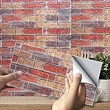 PE Blanco 3D Backstein Tapete, 3D Backstein Adhesivo de pared autoadhesivo DIY impermeable decoración papel pintado para cocina, baño, salón, oficina, TV fondo