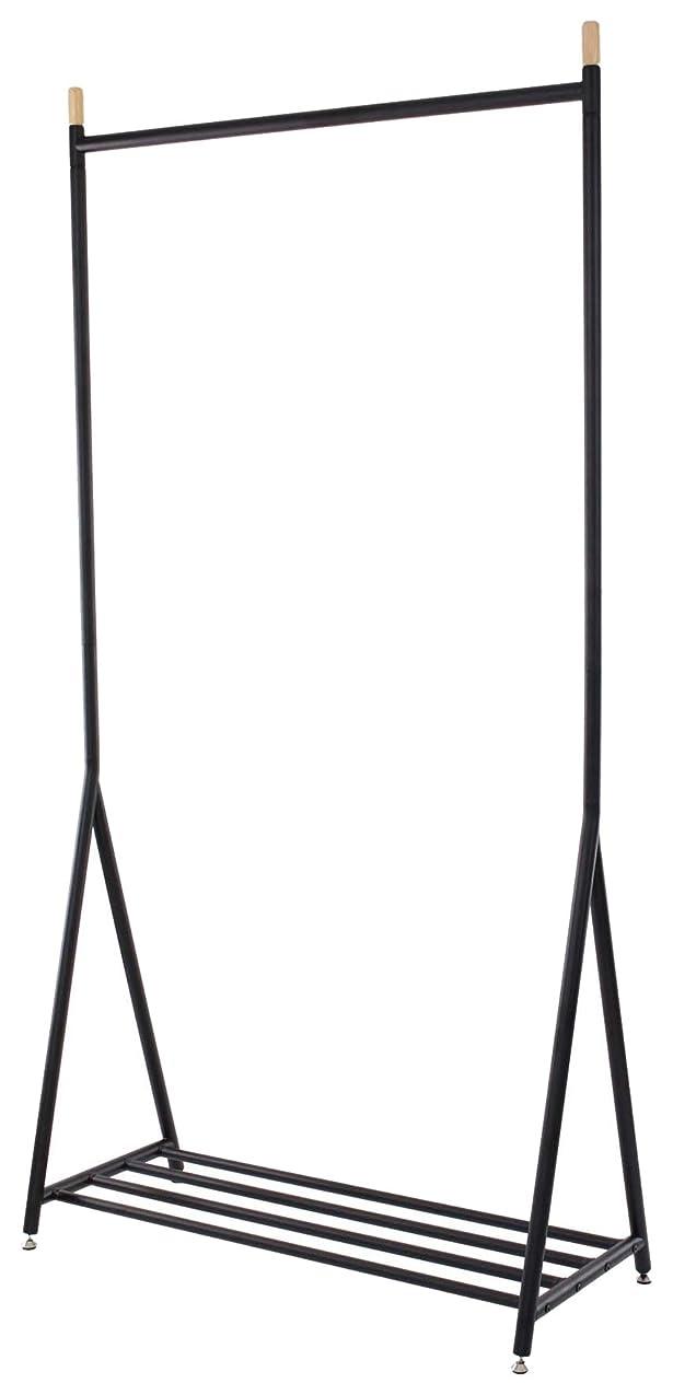 加入バラエティ哲学者narumi ハンガーラック スチール棚付き ブラック アジャスター付 30-523