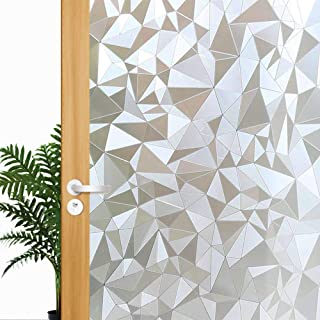 Decorative Privacy Window Film, 3D Reflective Window Decor/Privacy Protection/Heat Control/Anti UV, Stained Glass Static Cling for Home/Office, 17.7x78.7 inch Gravel