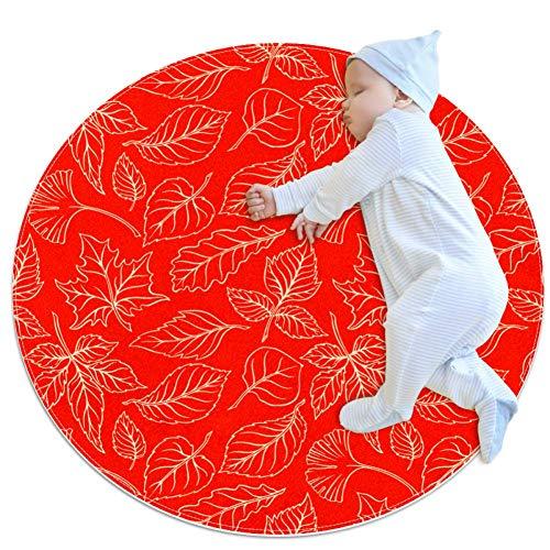 HDFGD mooie herfst laat grote baby tapijt voor kinderdagverblijf Kids ronde warme zachte activiteit Mat vloerbedekking Anti-slip voor kinderen Peuters Slaapkamer, 31.5x31.5IN