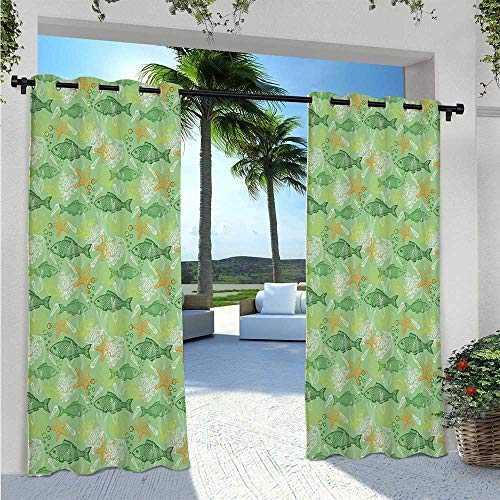 Indoor Outdoor Curtains Hand Drawn Basses Starfishes and Auger Seashell on Green Background Underwater Theme Thermal Insulated, Sun Blocking Blackout Curtains Adds Ambiance to Area W72 x L96 Inch