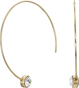 GUESS - Dainty Wire C Hoop Earrings with Stone Details
