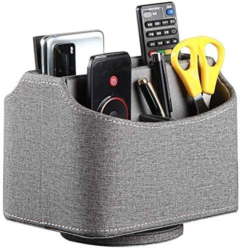 Laikesj Desk Organizers and Accessories, PU Leather Remote Control Holder, 360 Degree Spinning Desk TV Remote Control Caddy, for Controller, Media, Mail, Calculator, Mobile Phone, Pen Storage Holder (gray cloth)