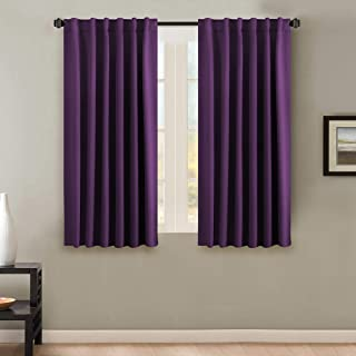 H.VERSAILTEX 100% Blackout Curtains for Bedroom Thermal Insulating Window Curtains Panels Drapes for Living Room, Back Tab/Rod Pocket Window Draperies - 2 Panels Set - 52x63 Inch - Solid Plum Purple