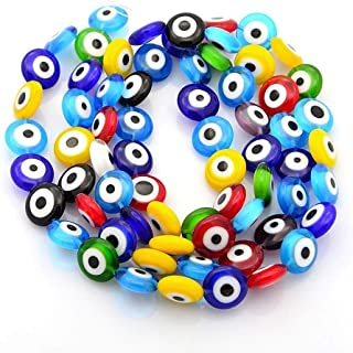 Handmade Evil Eye Lampwork Glass Bead Strands, Flat Round, Mixed Color, 12mm, 1mm Hole for Jewelry Making
