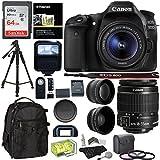 Canon EOS 80D Digital SLR Camera Kit EF-S 18-55mm Image Stabilization STM Lens + Polaroid .43x Super Wide Angle & 2.2X HD Telephoto Lens + 64GB Memory Card + Flash + Filters + Accessory Bundle