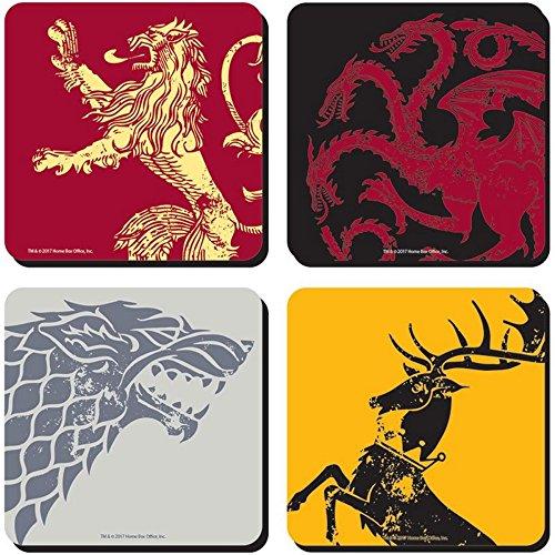 Game of Thrones - Untersetzer 4er Set - Königshäuser - Stark - Targaryen - Lannister - Baratheon - Logo