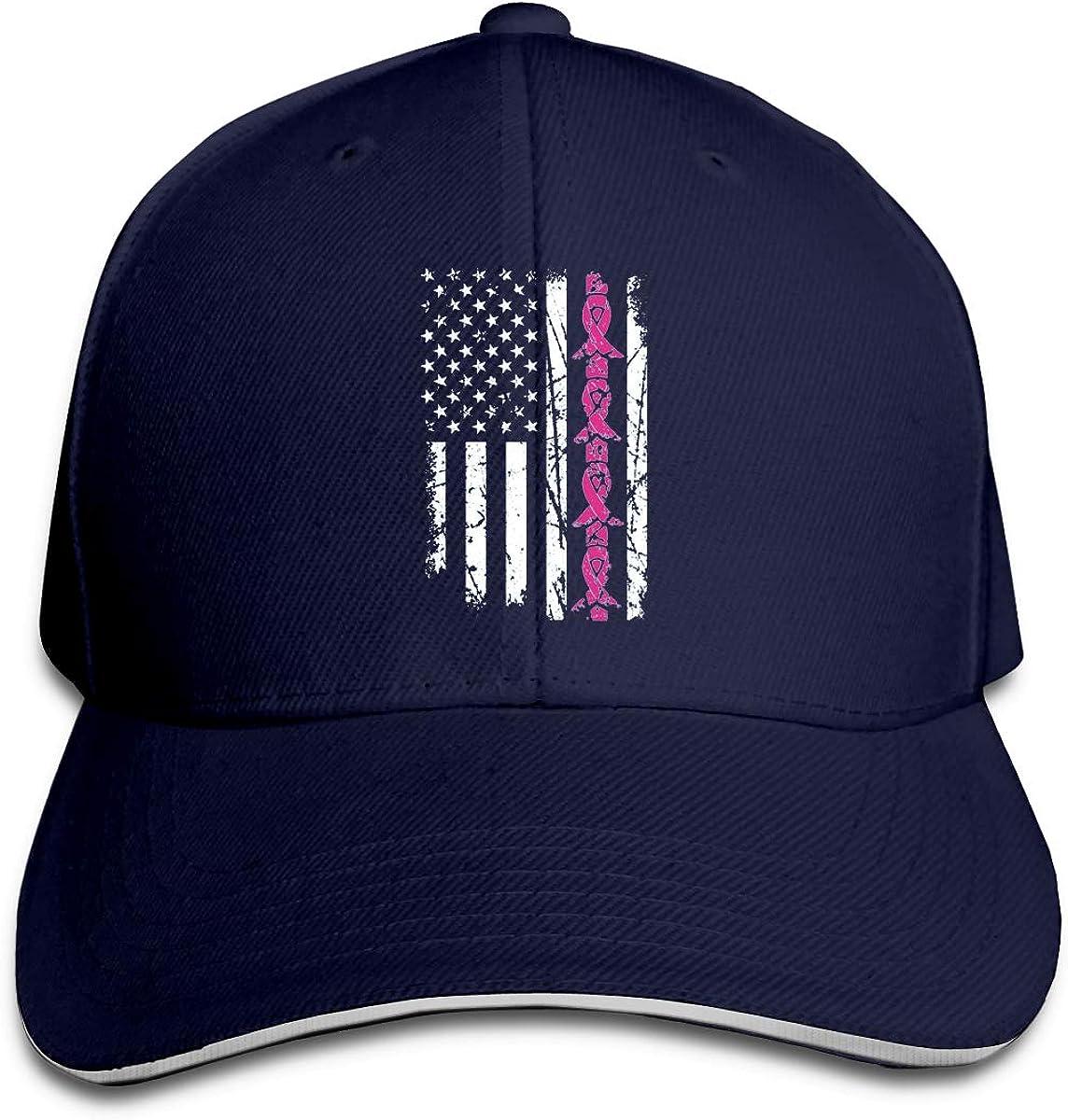 Breast Cancer Awareness Pink Ribbon American Flag Hat Baseball Cap Duck Tongue Cap Sunhat Fashion Cap