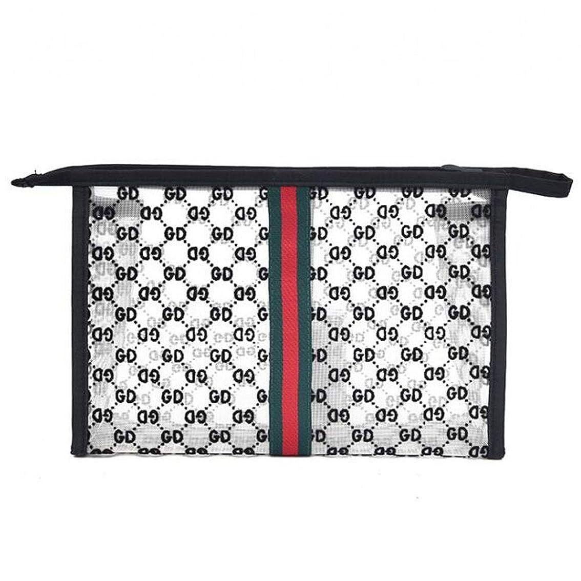 あいまいなチェスをするモトリー透明植毛メッシュ洗濯バスバッグポータブルスクエア大容量化粧品袋 (Color : Black, Size : L)