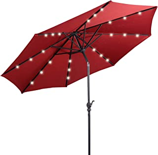 Giantex 10ft Solar Patio Umbrella Sunbrella with Lights, 8 Ribs Market Steel Tilt w/Crank for Garden, Deck, Backyard, Pool Indoor Outdoor Use (Burgundy)