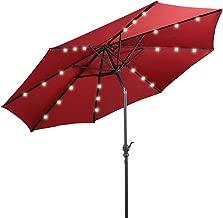 Giantex 10ft Solar Patio Umbrella Sunbrella with Lights, 8 Ribs Market Steel Tilt w/Crank for Garden, Deck, Backyard, Pool Indoor Outdoor Use (Burgundy)